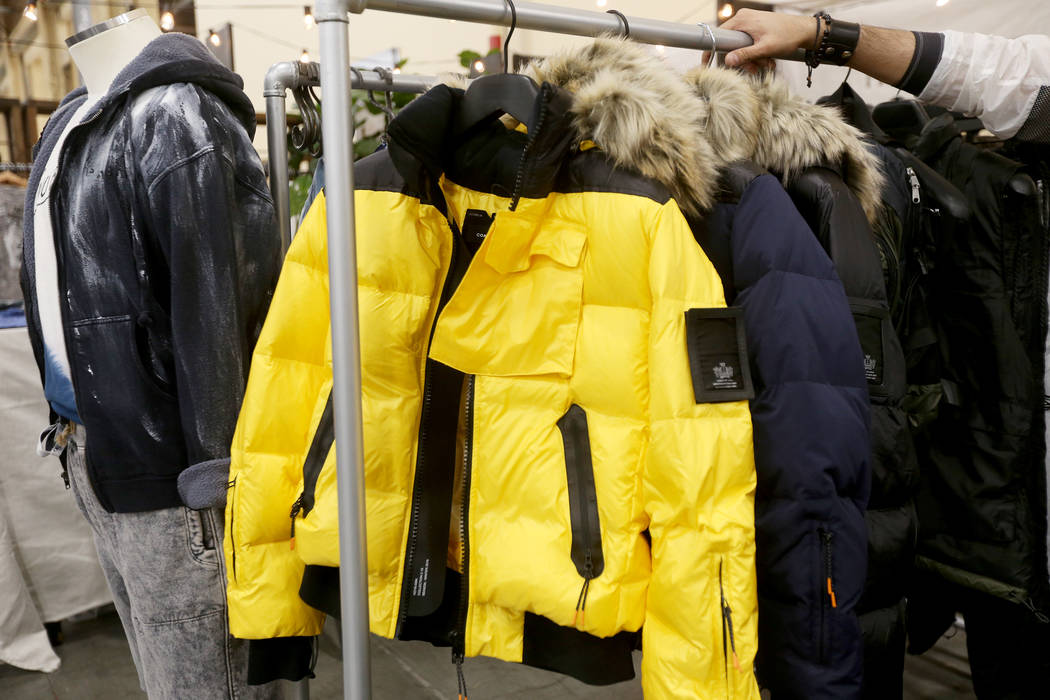 Outdoor-inspired styles at the Coat of Arms booth at the fashion trade show MAGIC at the Mandalay Bay Convention Center in Las Vegas, Tuesday, Feb. 5, 2019. (Rachel Aston/Las Vegas Review-Journal) ...