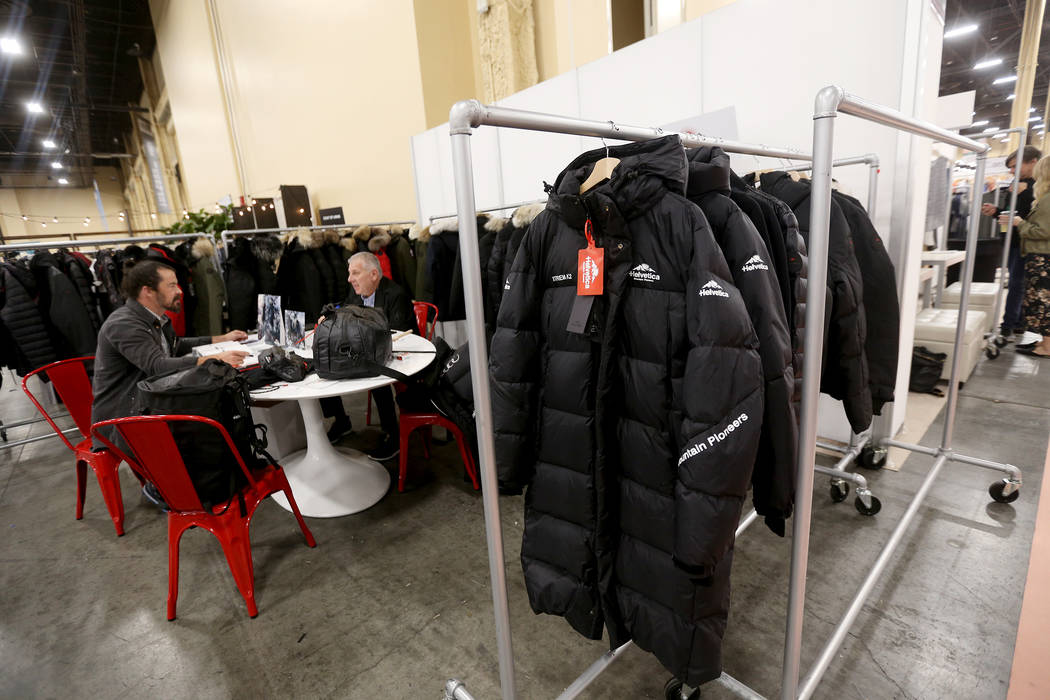 Outdoor-inspired styles at the Helvetica booth at the fashion trade show MAGIC at the Mandalay Bay Convention Center in Las Vegas, Tuesday, Feb. 5, 2019. (Rachel Aston/Las Vegas Review-Journal) @r ...