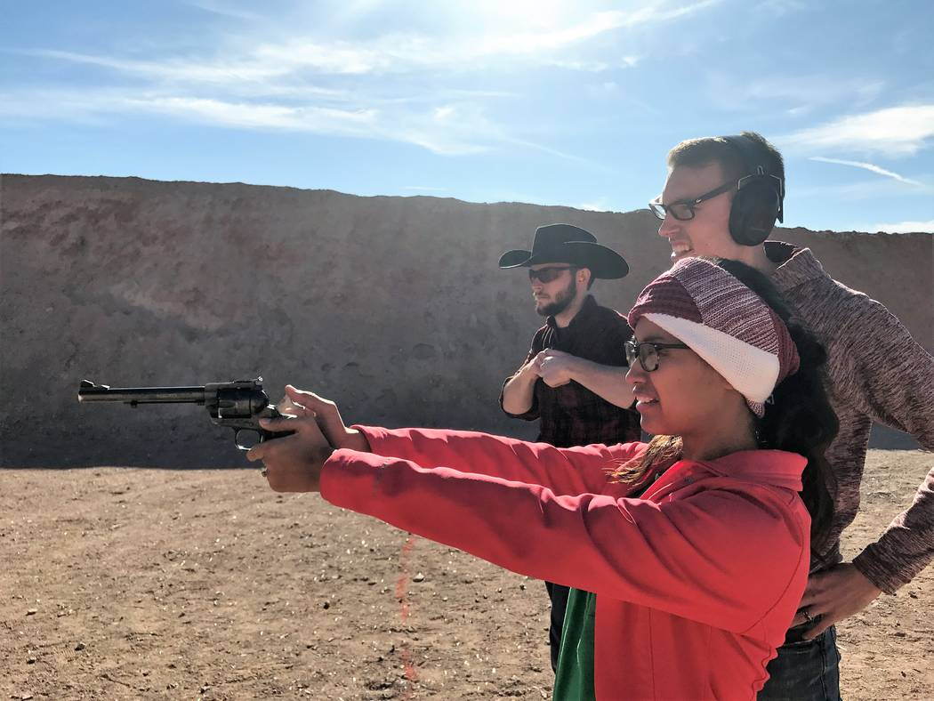 Women comprise the fastest growing segment of the shooting sports. Stephanie Nielsen, experiences handgun shooting for the first time. (Doug Nielsen)