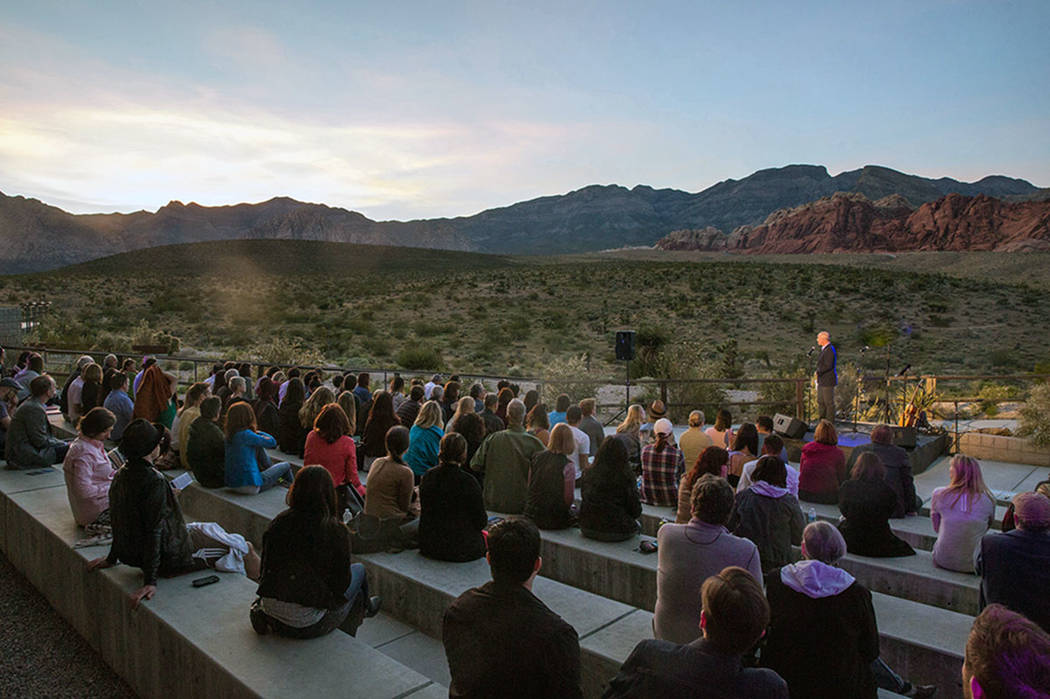 The Believer Festival, a celebration of writing, music and the visual arts, returns in April to sites in and around Las Vegas. A festival event was held at Red Rock Canyon in 2018.(Believer Festival)
