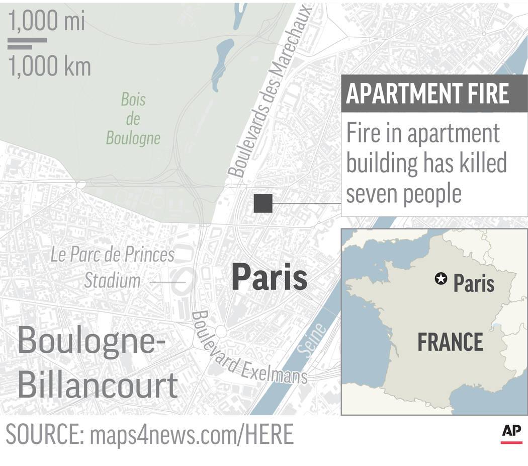 Map locates apartment building fire in Paris; 2c x 3 inches; 96.3 mm x 76 mm;
