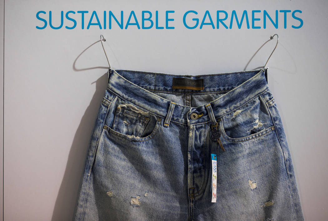 Jeans on display from Jeanologia, a sustainable technology company, during the Sourcing at MAGIC trade show at the Las Vegas Convention Center in Las Vegas on Wednesday, Feb. 6, 2019. (Chase Steve ...