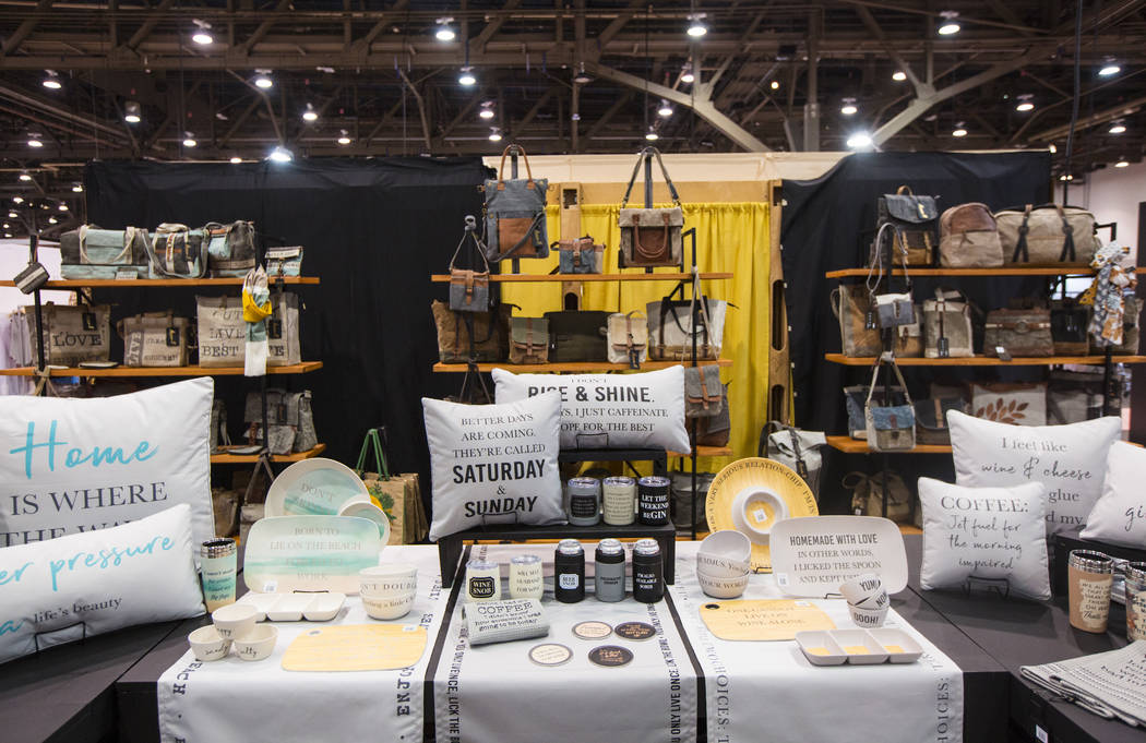 A variety of items on display by sustainable lifestyle brand Mona B during WWDMAGIC, part of the MAGIC trade show, at the Las Vegas Convention Center in Las Vegas on Tuesday, Feb. 5, 2019. (Chase ...