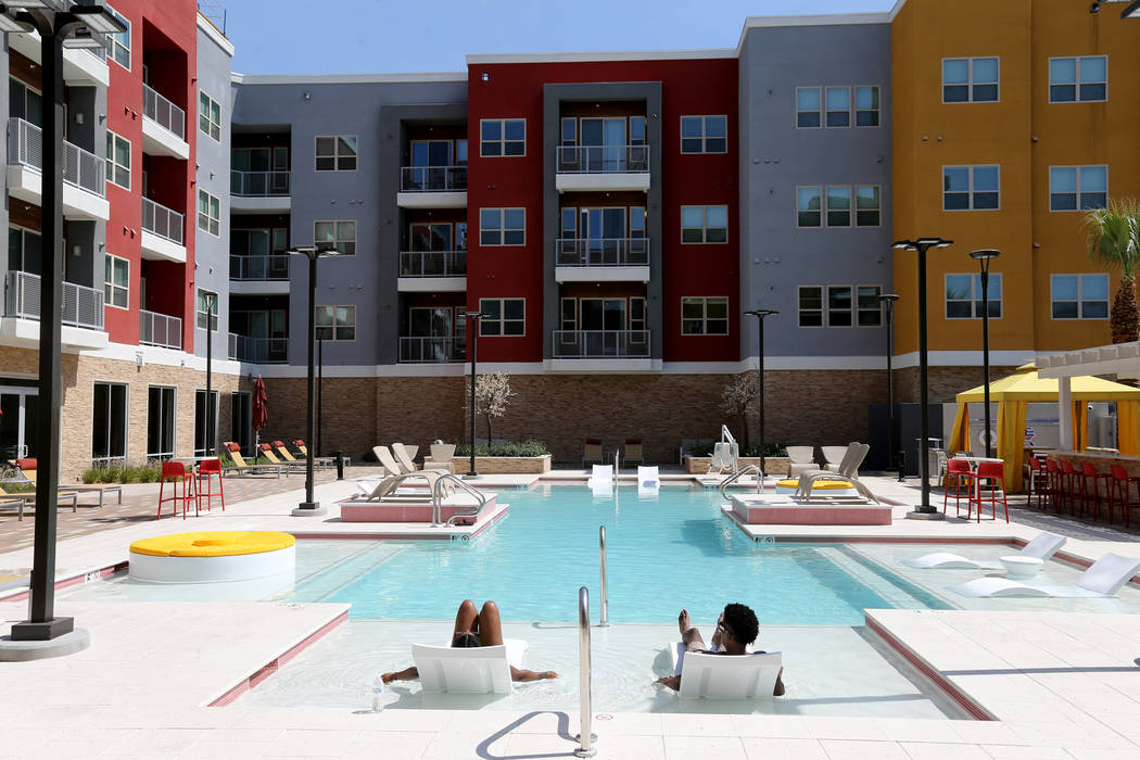 One of two pools at Lotus apartment complex on Spring Mountain Road near Valley View Boulevard in Las Vegas, as seen Monday, May 25, 2018. K.M. Cannon Las Vegas Review-Journal @KMCannonPhoto