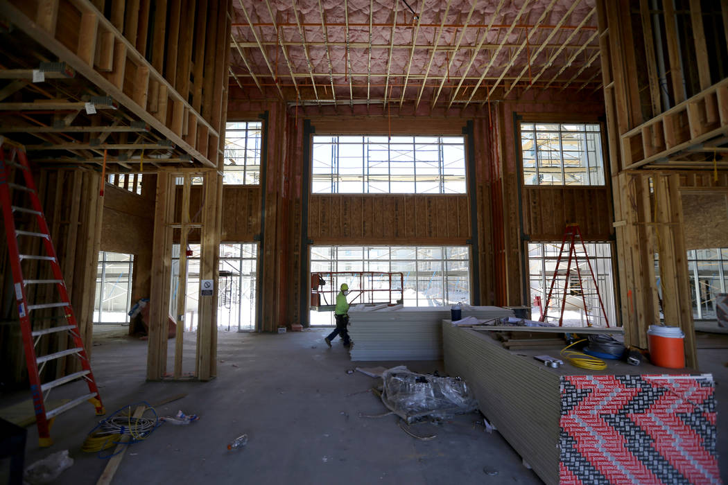 The clubhouse area under construction at the 365-unit Elysian apartment complex on the southeast corner of Flamingo Road and Hualapai Way in Las Vegas, as seen Friday, April 27, 2018. K.M. Cannon ...