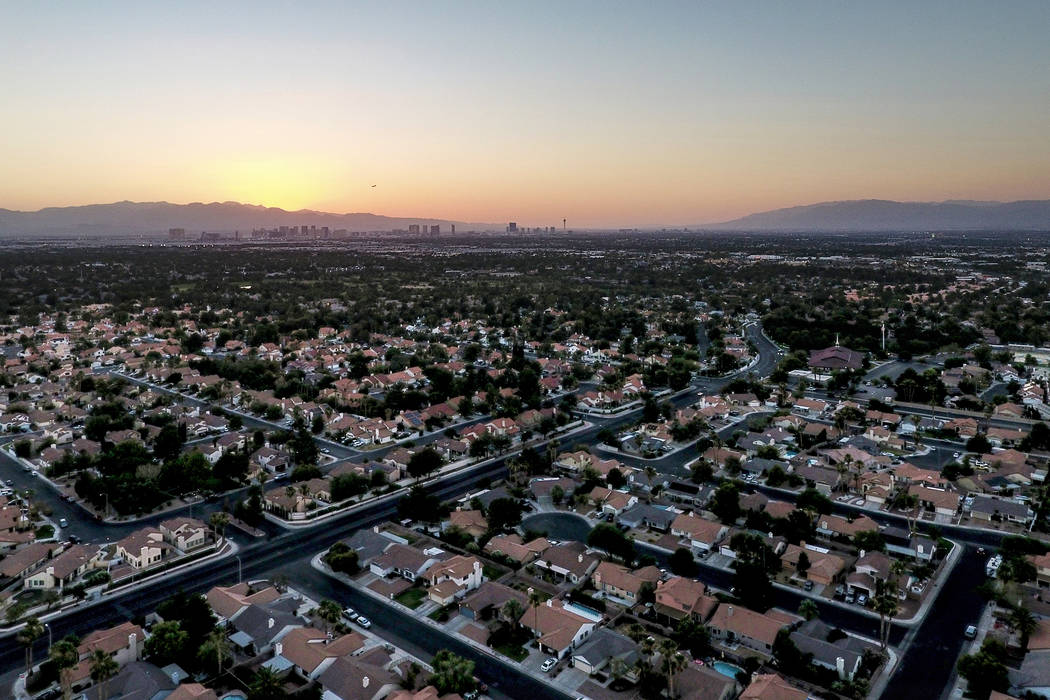 Aerial photograph of the Las Vegas Valley at sunset on Sunday, June 24, 2018. (Michael Quine/Las Vegas Review-Journal) @Vegas88s