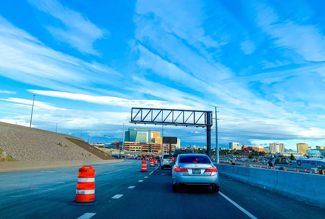 The Interstate 15 offramp to Charleston Boulevard eastbound will close between 10 p.m. Feb. 8 and 6 a.m. Feb. 11, 2019, as part of Project Neon in downtown Las Vegas. (Mick Akers/Las Vegas Review- ...