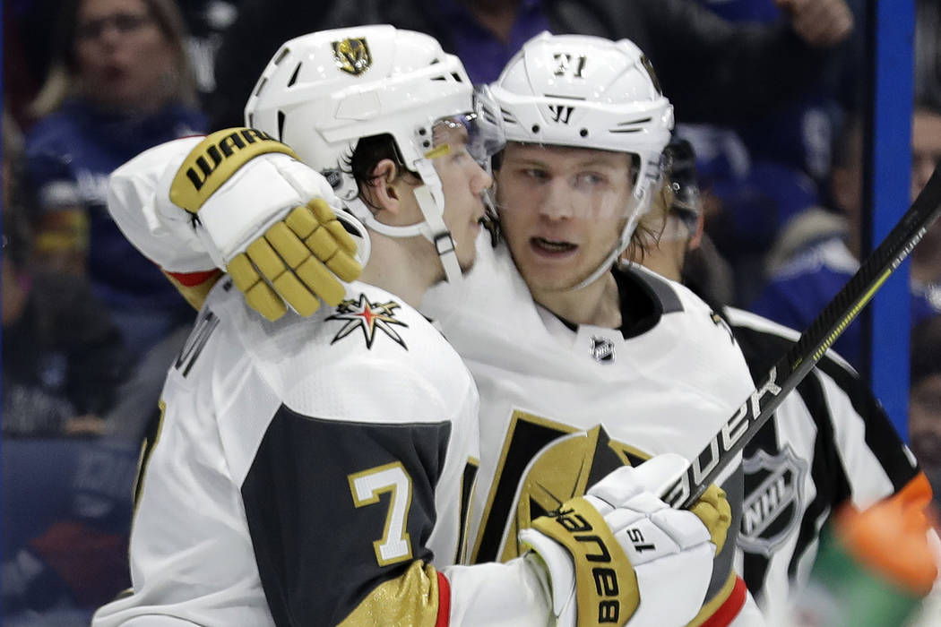 a13cb56097e Vegas Golden Knights left wing Valentin Zykov (7) celebrates his goal  against the Tampa