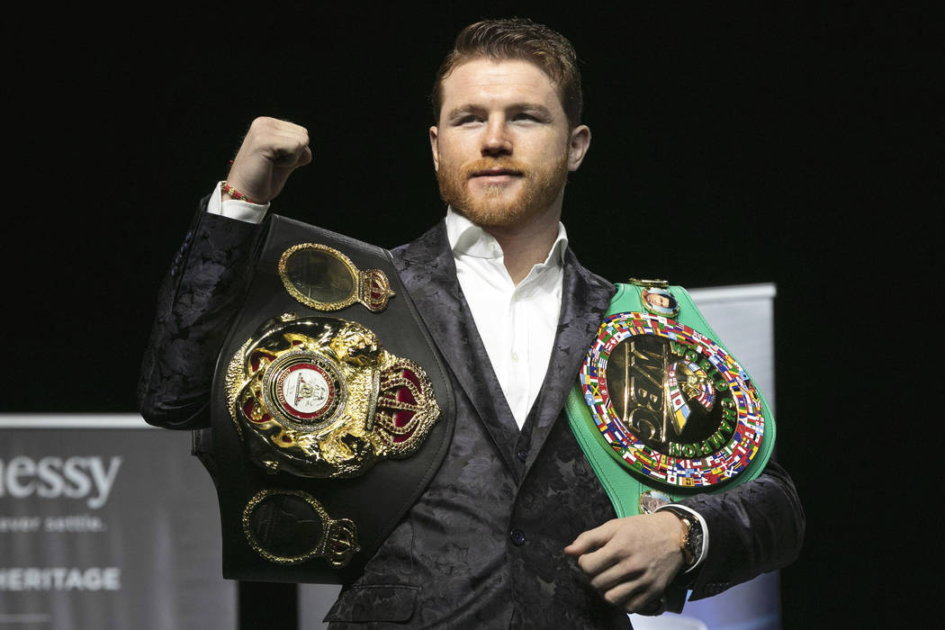 In this Wednesday, Oct. 17, 2018, file photo, boxer Canelo Alvarez poses for photos at Madison Square Garden in New York. (AP Photo/Richard Drew, File)