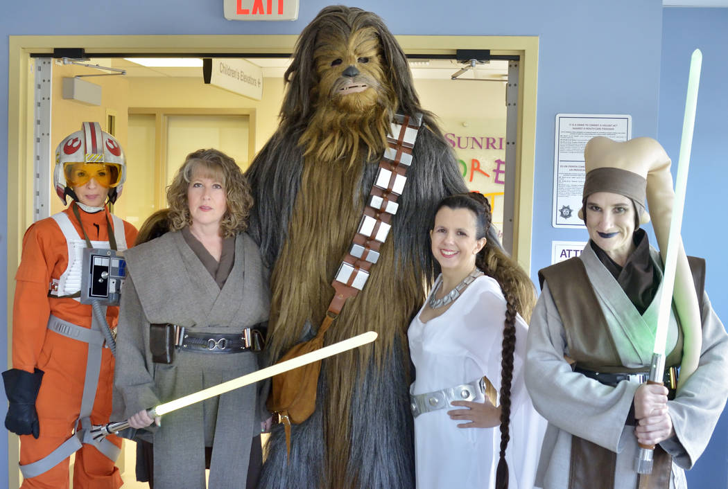Members of the Rebel Legion Coruscant Base, a local chapter of an international Star Wars costuming organization, from left, Tammy Simbal, Rowena Hardin, James Nocie, Susan Galvin and Mary Ann Noc ...