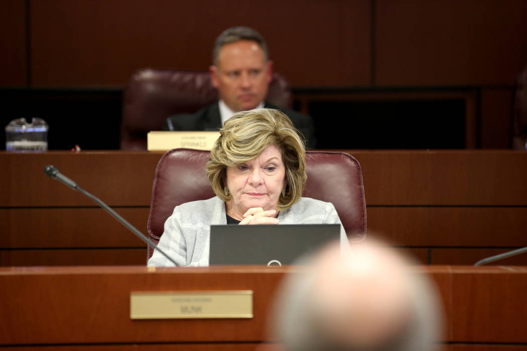 Assemblywoman Connie Munk, D-Las Vegas, and Assemblyman Michael C. Sprinkle, D-Sparks, watch a presentation from Las Vegas Metropolitan Police Lt. Branden Clarkson and Clark County Deputy Fire Chi ...