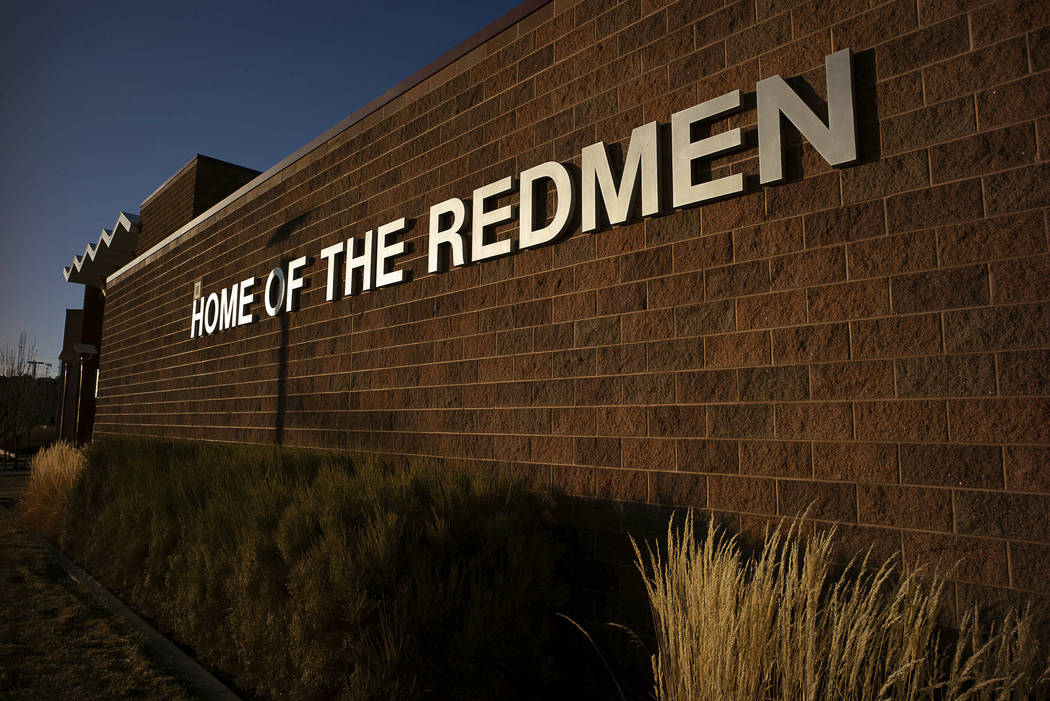 """This Jan. 11, 2019 photo shows the outside of Cedar High School in Cedar City, Utah. The southern Utah high school is getting rid of its """"Redmen"""" mascot as it becomes the latest tea ..."""