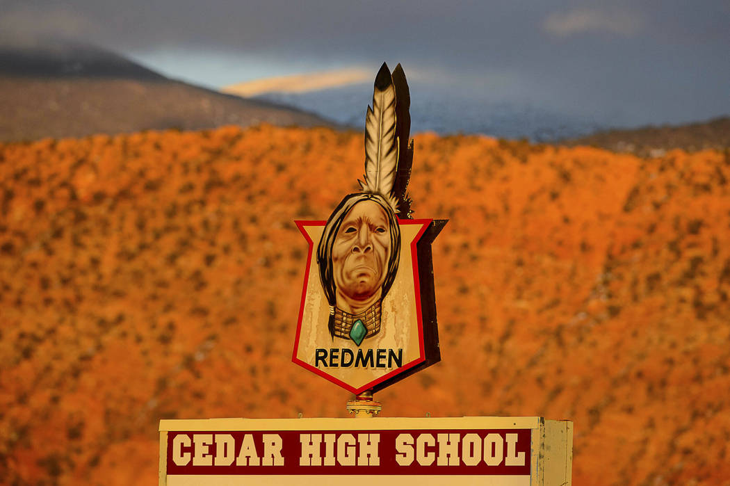 "This Jan. 11, 2019 photo shows the mascot ""Redmen"" at Cedar High School in Cedar City, Utah. The southern Utah high school is getting rid of its ""Redmen"" mascot as it becom ..."