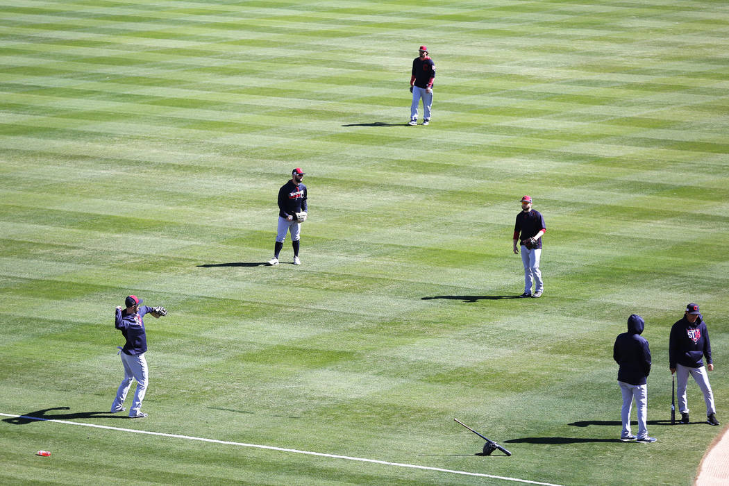 The Cleveland Indians practice before the annual Big League Weekend baseball game at Cashman Field in Las Vegas on Sunday, March 18, 2018. Andrea Cornejo Las Vegas Review-Journal @DreaCornejo