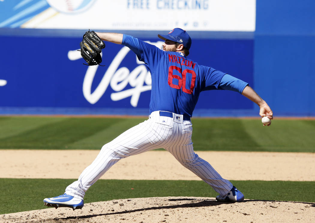 Chicago Cubs' Cory Mazzoni (60) pitches during the annual Big League Weekend baseball game against the Cleveland Indians at Cashman Field in Las Vegas on Sunday, March 18, 2018. Andrea Cornejo Las ...