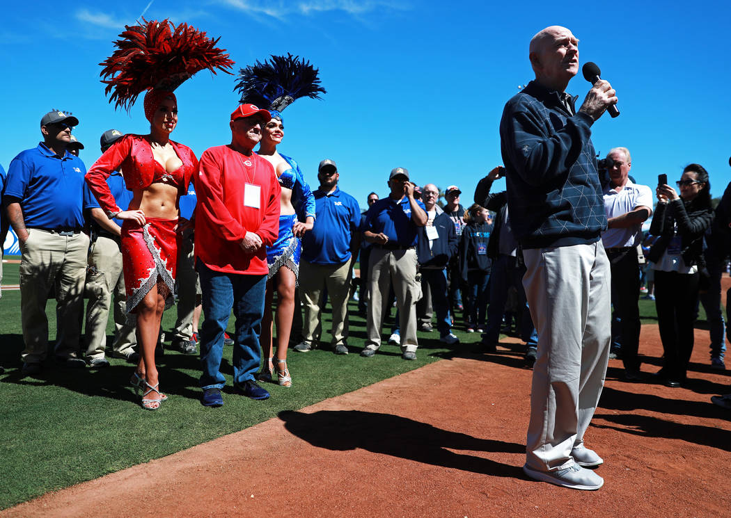 Clark County Commissioner Larry Brown addresses the crowd before the annual Big League Weekend baseball game at Cashman Field in Las Vegas on Sunday, March 18, 2018. Andrea Cornejo Las Vegas Revie ...