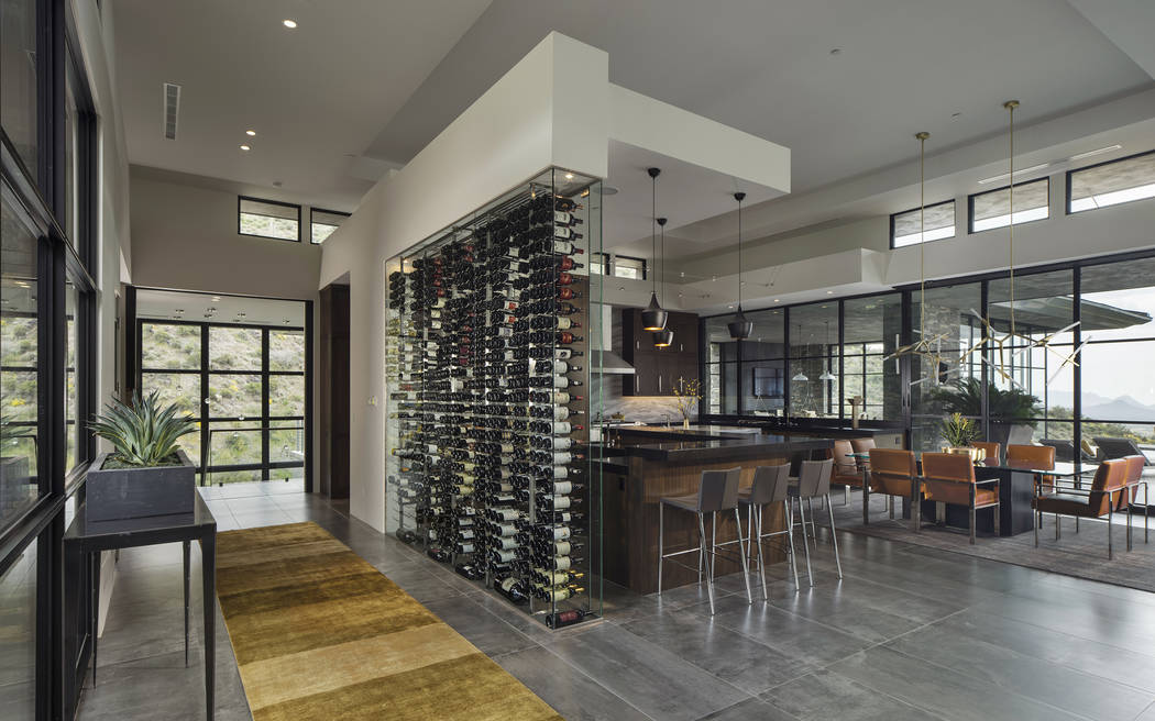 Michael Baxter Baxter Imaging Llc This Modern Kitchen Glass Wine Wall Cellar Was Designed By Innovative Wine Cellar Designs Michael Baxter Baxter Imaging Llc Las Vegas Review Journal