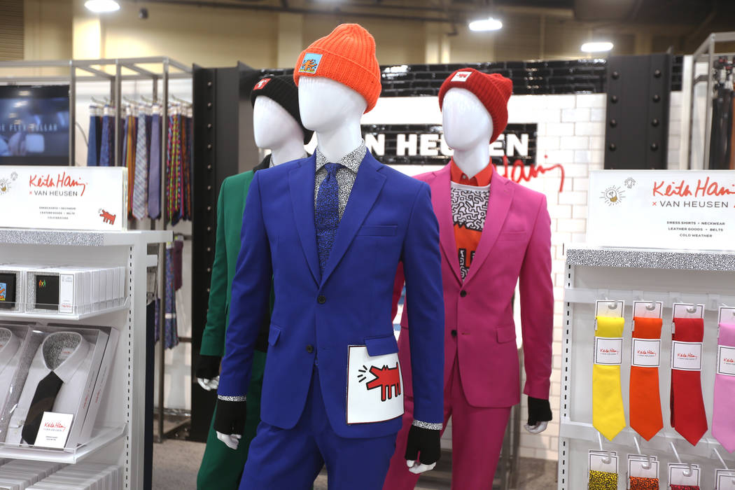 Suits that are part of the collaboration between Van Heusen and pop artist Keith Haring at the Van Heusen booth at the fashion trade show MAGIC at the Mandalay Bay Convention Center in Las Vegas, ...