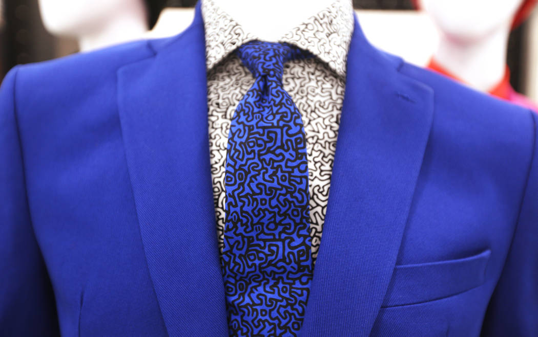 A suit that is a part of the collaboration between Van Heusen and pop artist Keith Haring at the Van Heusen booth at the fashion trade show MAGIC at the Mandalay Bay Convention Center in Las Vegas ...