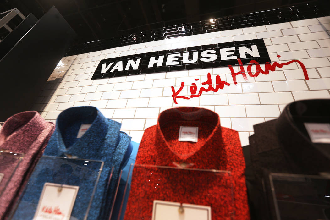 The Van Heusen and pop artist Keith Haring collaboration at the Van Heusen booth at the fashion trade show MAGIC at the Mandalay Bay Convention Center in Las Vegas, Wednesday, Feb. 6, 2019. (Rache ...