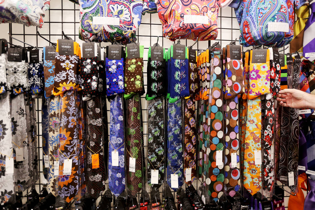 Socks with matching ties at the Verse 9 booth at the fashion trade show MAGIC at the Mandalay Bay Convention Center in Las Vegas, Wednesday, Feb. 6, 2019. (Rachel Aston/Las Vegas Review-Journal) @ ...