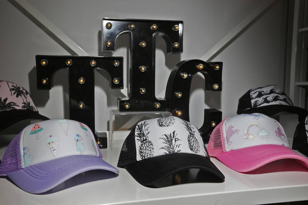 Trucker hats for children at the Tiny Trucker Co. booth at the fashion trade show MAGIC at the Mandalay Bay Convention Center in Las Vegas, Wednesday, Feb. 6, 2019. (Rachel Aston/Las Vegas Review- ...