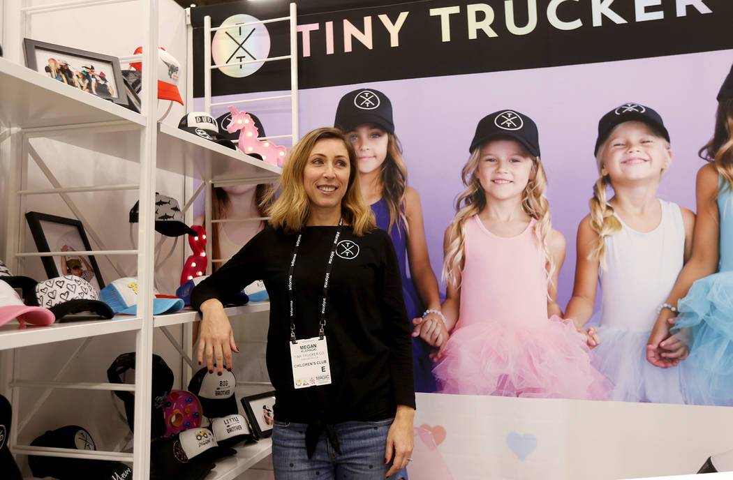 Director of sales Megan Klepacki speaks to the Review-Journal at the Tiny Trucker Co. booth at the fashion trade show MAGIC at the Mandalay Bay Convention Center in Las Vegas, Wednesday, Feb. 6, 2 ...