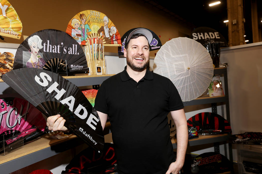 Timothy Cochran, owner of Daftboy, speaks to the Review-Journal about the fans his company creates at the Daftboy booth at the fashion trade show MAGIC at the Mandalay Bay Convention Center in Las ...