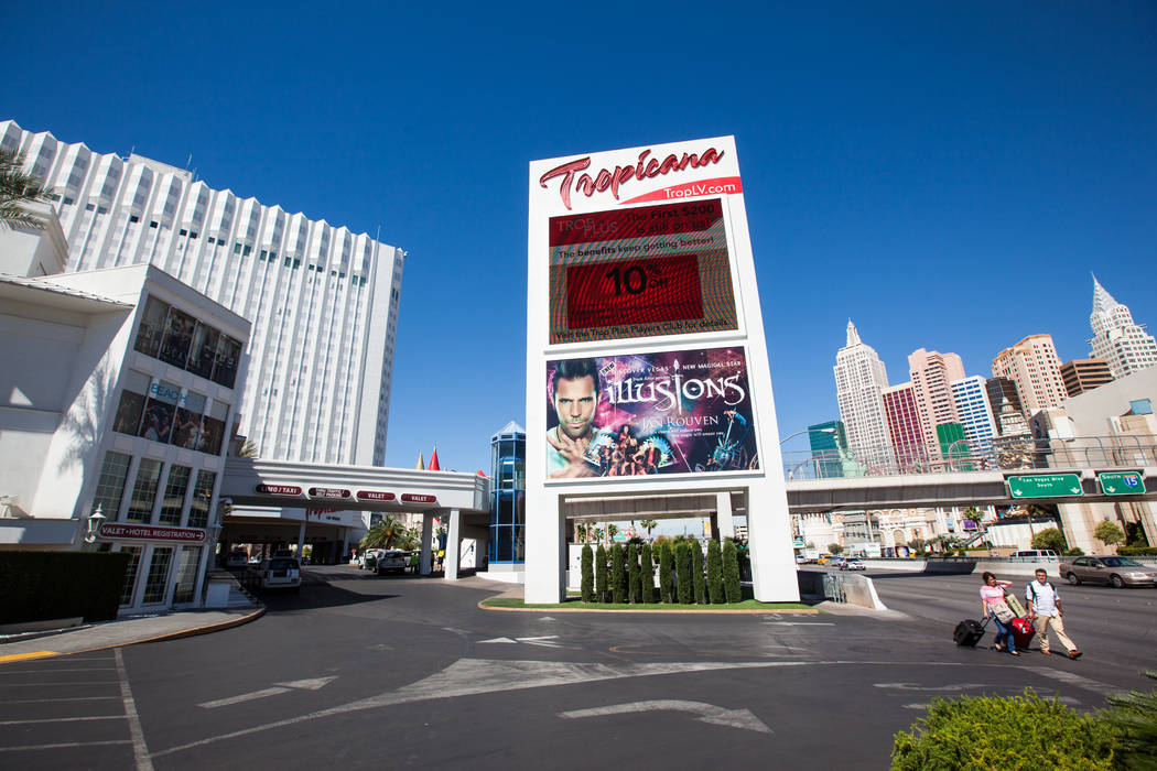 People pass by the Tropicana hotel-casino in Las Vegas on Wednesday, April 29, 2015. (Chase Stevens/Las Vegas Review-Journal)