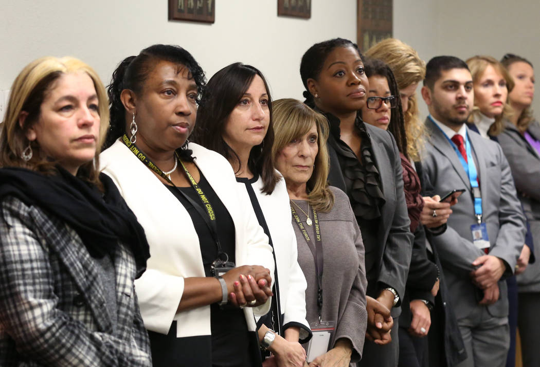 Attendees listen as Jim Sweetin, chief deputy district attorney, announces the creation of the Southern Nevada Sex Trafficking Multidisciplinary Team during a press conference on Thursday, Feb. 7, ...