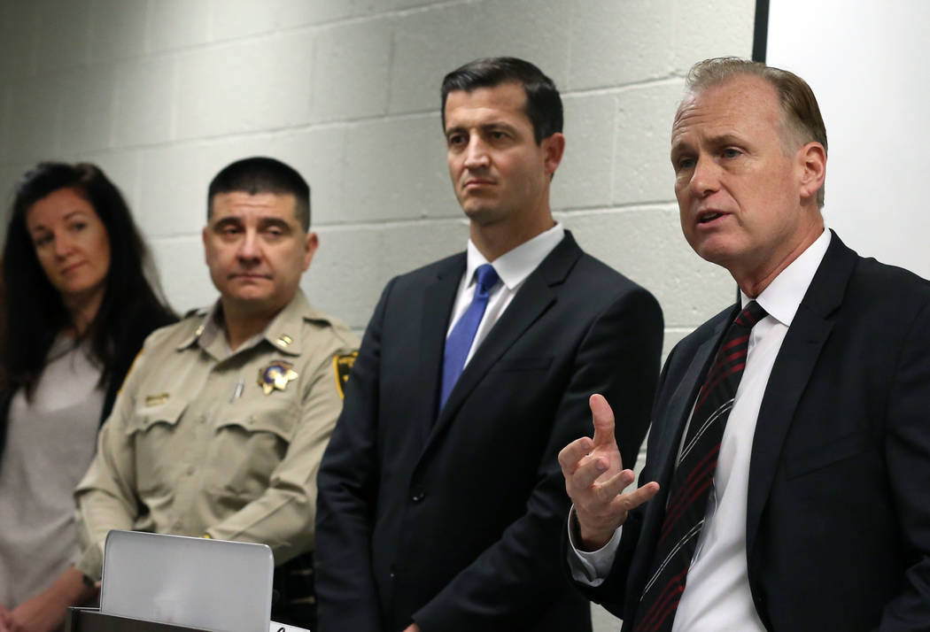 Jim Sweetin, right, chief deputy district attorney, announces the creation of the Southern Nevada Sex Trafficking Multidisciplinary Team during a press conference as U.S. attorney Nick Trutanich, ...
