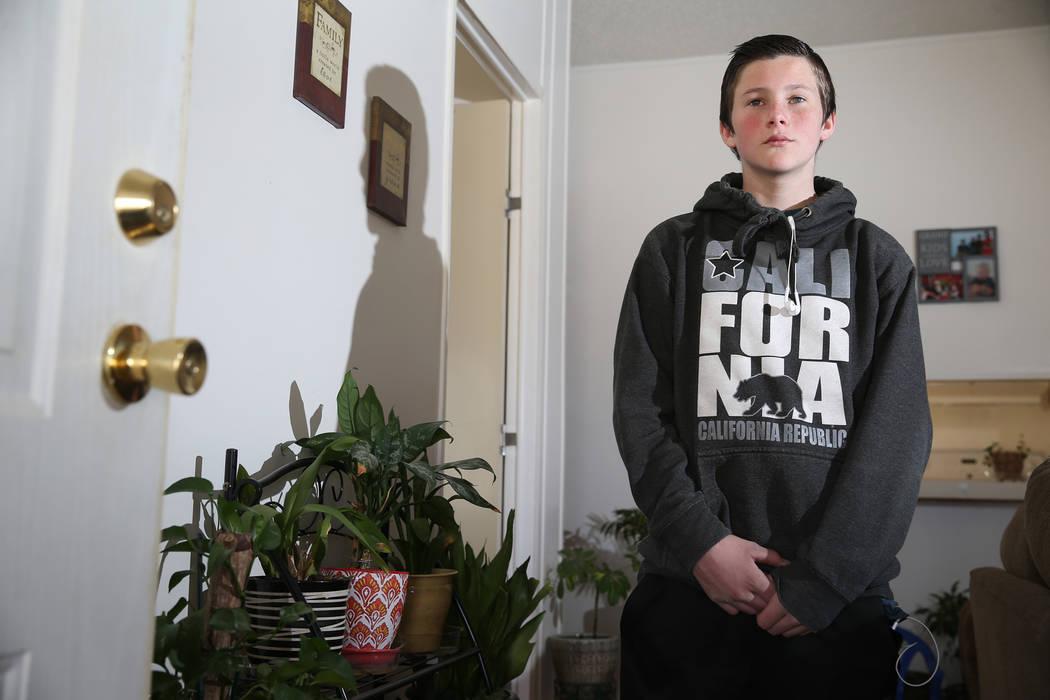 Tanner Reynolds, 13, in Pahrump on Wednesday, Feb. 6, 2019. Reynolds is a former student of Northwest Academy in Amargosa Valley. (Erik Verduzco/Las Vegas Review-Journal) @Erik_Verduzco