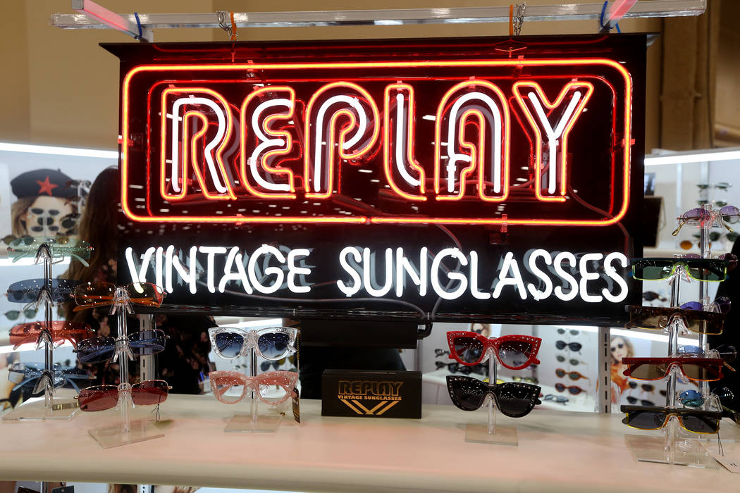 The Replay booth at the MAGIC fashion trade show at the Mandalay Bay Convention Center in Las Vegas, Wednesday, Feb. 6, 2019. Replay sells vintage sunglasses that were dead stock for other compani ...