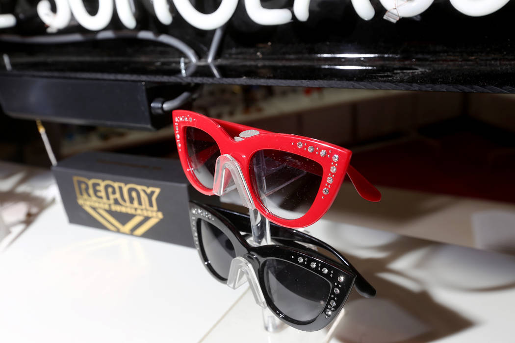 Vintage sunglasses at the Replay booth at the MAGIC fashion trade show at the Mandalay Bay Convention Center in Las Vegas, Wednesday, Feb. 6, 2019. Replay sells vintage sunglasses that were dead s ...