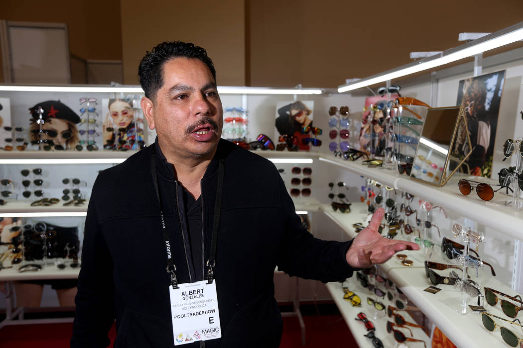 Albert Gonzales' company, Replay, sells vintage sunglasses that were dead stock for other companies. Replay has a booth at the MAGIC fashion trade show at the Mandalay Bay Convention Center in La ...
