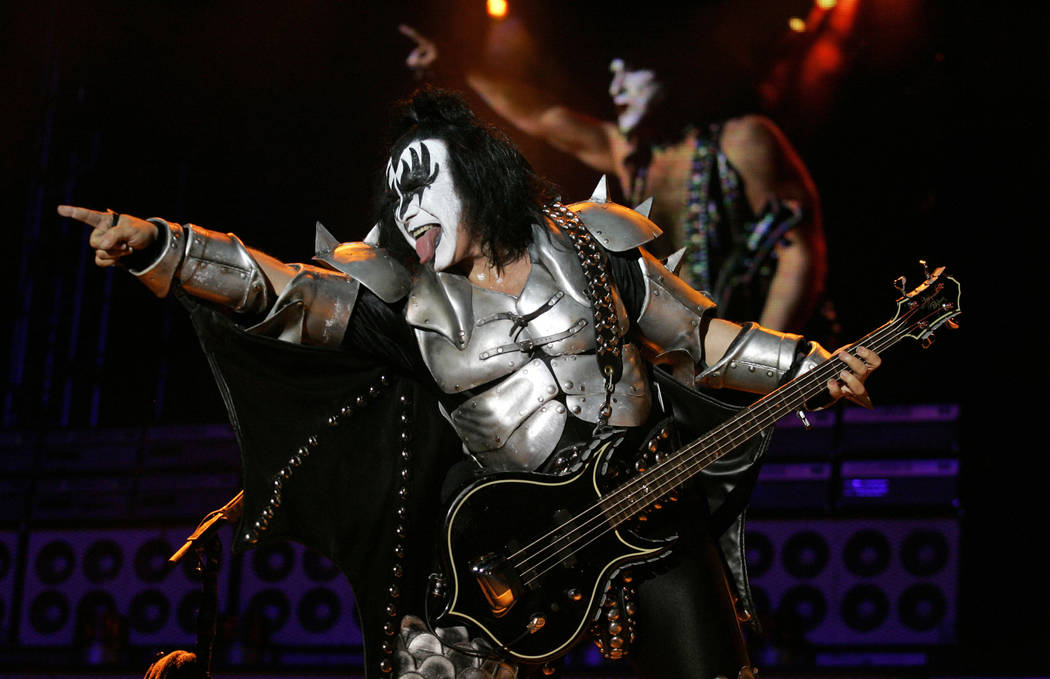 "Gene Simmons, of the rock band Kiss, performs during a concert at the ""Quilmes Rock 2009"" rock festival in Bogota, Saturday, April 11, 2009. (AP Photo/Fernando Vergara)"
