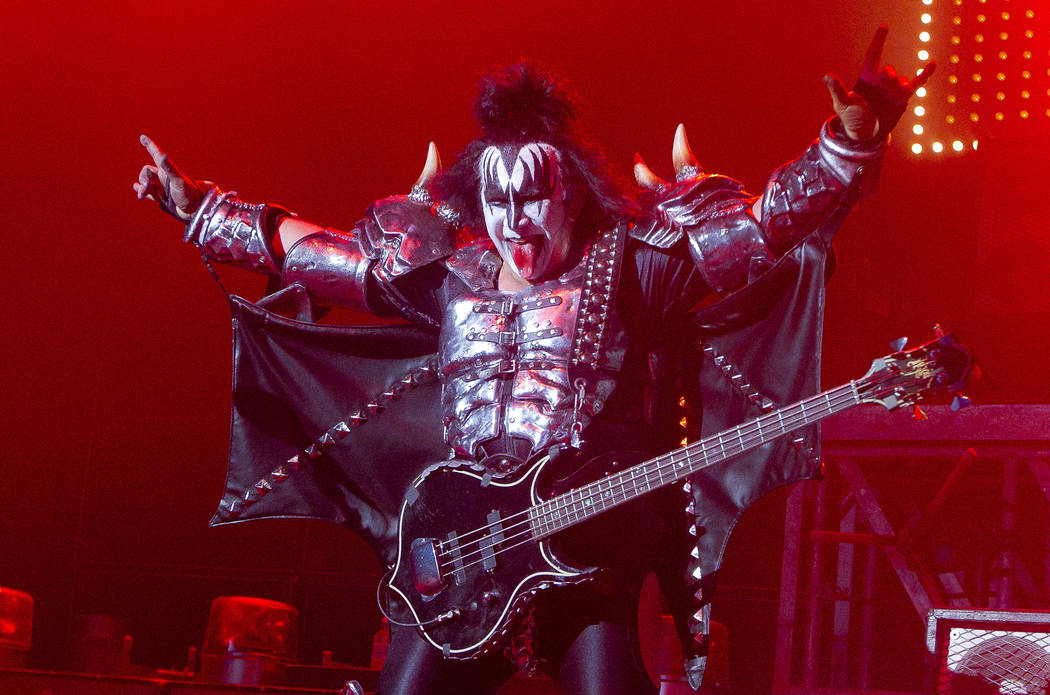 Gene Simmons, singer and bassist of U.S rock band, Kiss, performs on stage at the Kentish Town Forum, north London, Wednesday, July 4 , 2012, in aid of the charity Help For Heroes. (AP Photo/Joel ...