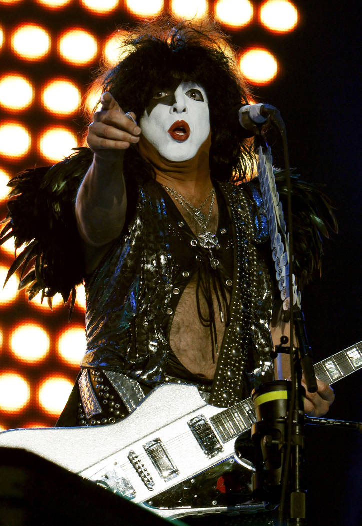 Paul Stanley of Kiss performs during a concert in Mexico City, Saturday, Sept. 29, 2012. (AP Photo/Marco Ugarte)