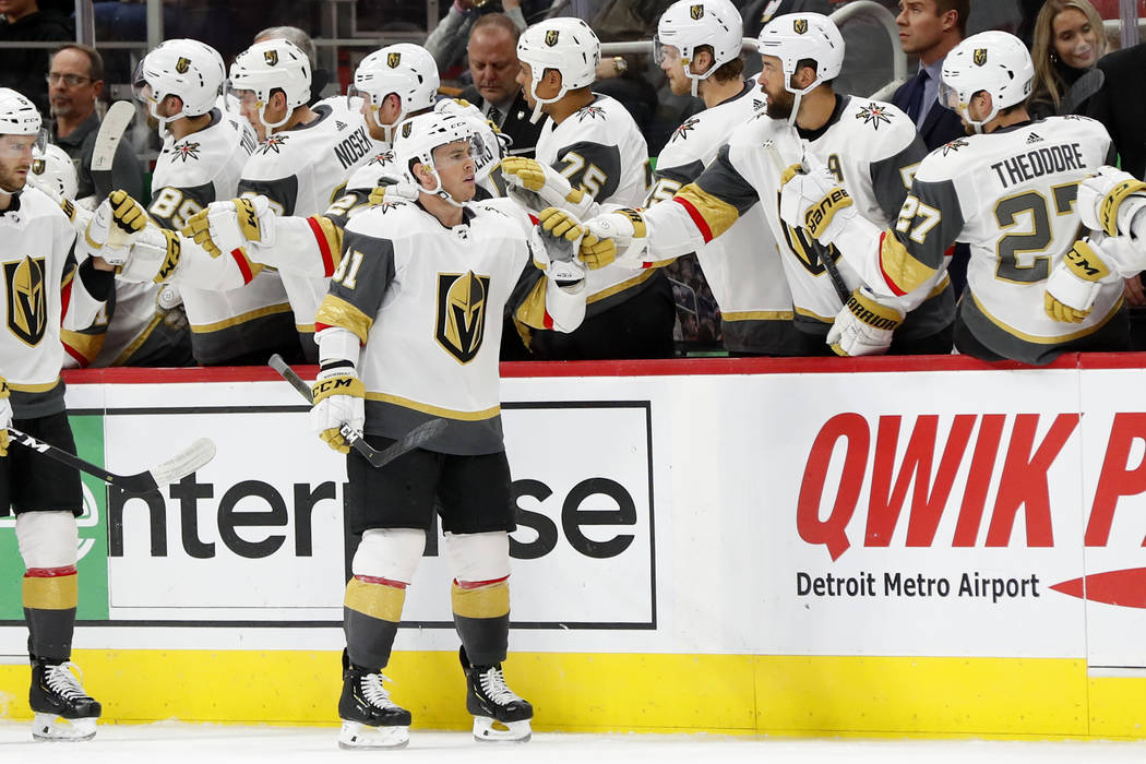 Vegas Golden Knights center Jonathan Marchessault (81) celebrates his goal against the Detroit Red Wings in the second period of an NHL hockey game Thursday, Feb. 7, 2019, in Detroit. (AP Photo/Pa ...