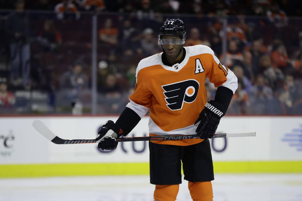 Philadelphia Flyers' Wayne Simmonds in action during an NHL hockey game against the Minnesota Wild, Monday, Jan. 14, 2019, in Philadelphia. (AP Photo/Matt Slocum)