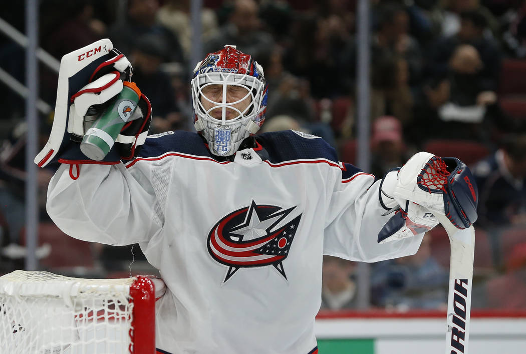 Columbus Blue Jackets goaltender Sergei Bobrovsky (72) in the third period during an NHL hockey game against the Arizona Coyotes, Thursday, Feb. 7, 2019, in Glendale, Ariz. Columbus defeated the C ...