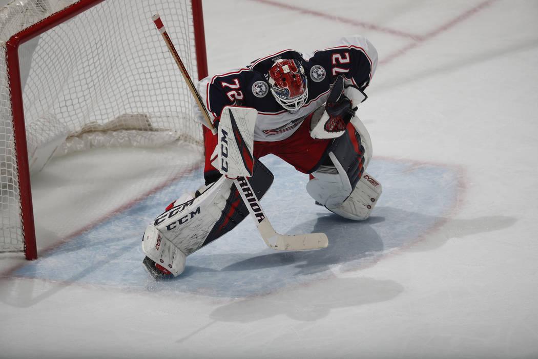 Columbus Blue Jackets goaltender Sergei Bobrovsky (72) in the third period of an NHL hockey game Tuesday, Feb. 5, 2019, in Denver. Columbus won 6-3. (AP Photo/David Zalubowski)