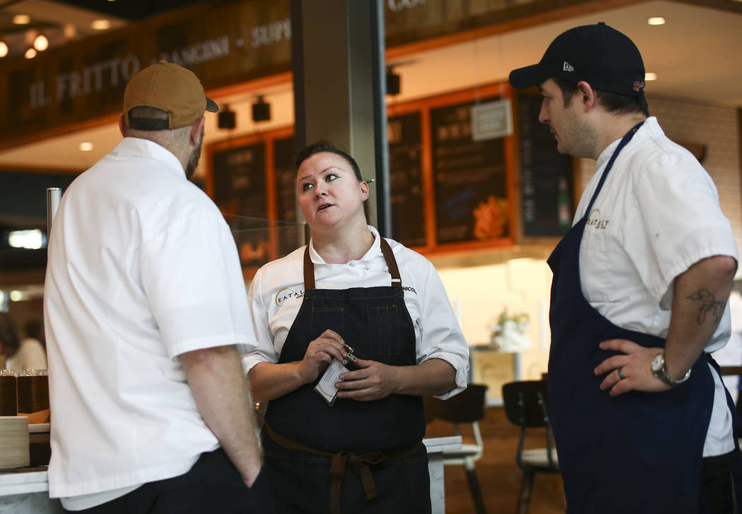 Executive Chef Nicole Brisson talks with members of her staff before the ribbon cutting ceremony for Eataly at Park MGM in Las Vegas on Thursday, Dec. 27, 2018. Chase Stevens Las Vegas Review-Jour ...