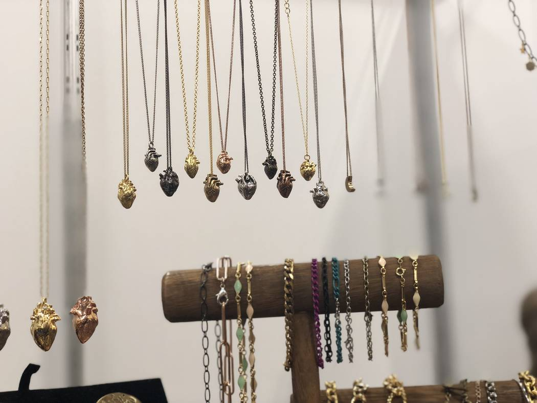 Heart charm necklaces by Brooklyn Charm. (Janna Karel Las Vegas Review-Journal)