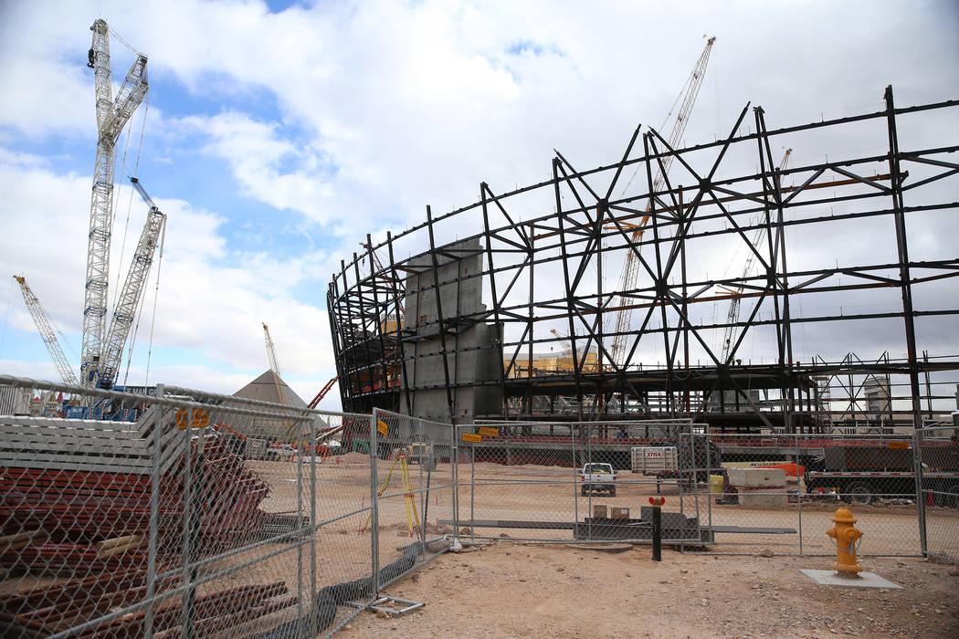 The Raiders stadium construction site in Las Vegas, Tuesday, Feb. 5, 2019. (Erik Verduzco/Las Vegas Review-Journal) @Erik_Verduzco