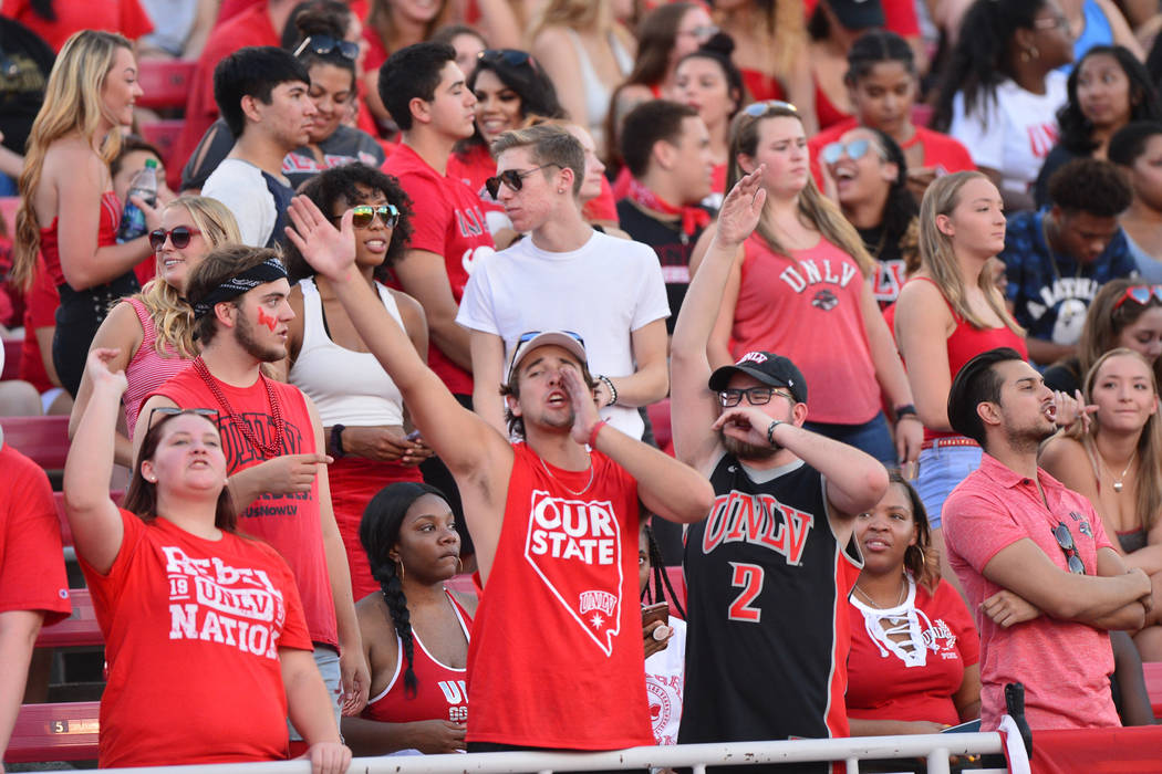 UNLV Rebels fans cheer on their team during a game against the UTEP Miners at Sam Boyd Stadium in Las Vegas on Saturday, Sept. 8, 2018. UNLV won 52-24. Brett Le Blanc Las Vegas Review-Journal