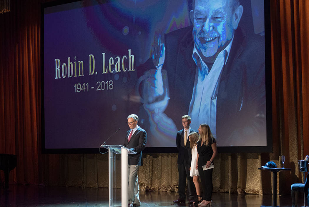 Robin Leach's son Gregg and Leach's grandkids, Jack, Gianna and Meg, are shown at Leach's celebration of life at Palazzo Theater on Friday, Sept. 28, 2018. (Tom Donoghue)