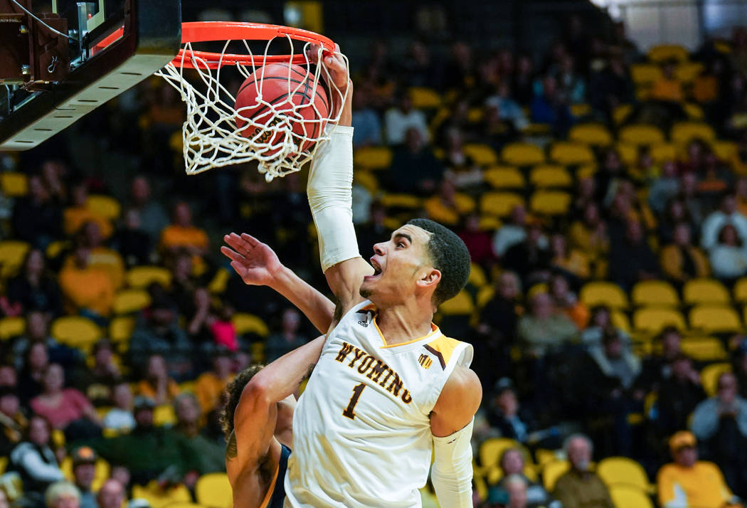 Dec 1, 2018; Laramie, WY, USA; Wyoming Cowboys guard Justin James (1) against the Northern Colorado Bears at Arena-Auditorium. The Cowboys lost to the Bears 85-80. Mandatory Credit: Troy Babbitt-U ...