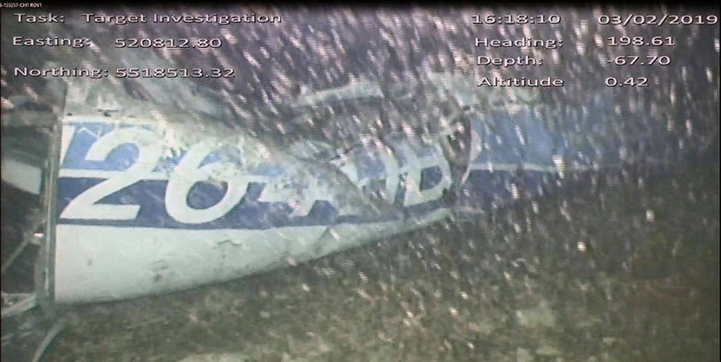 In this image released Monday Feb. 4, 2019, by the UK Air Accidents Investigation Branch (AAIB) showing the rear left side of the fuselage including part of the aircraft registration N264DB that w ...