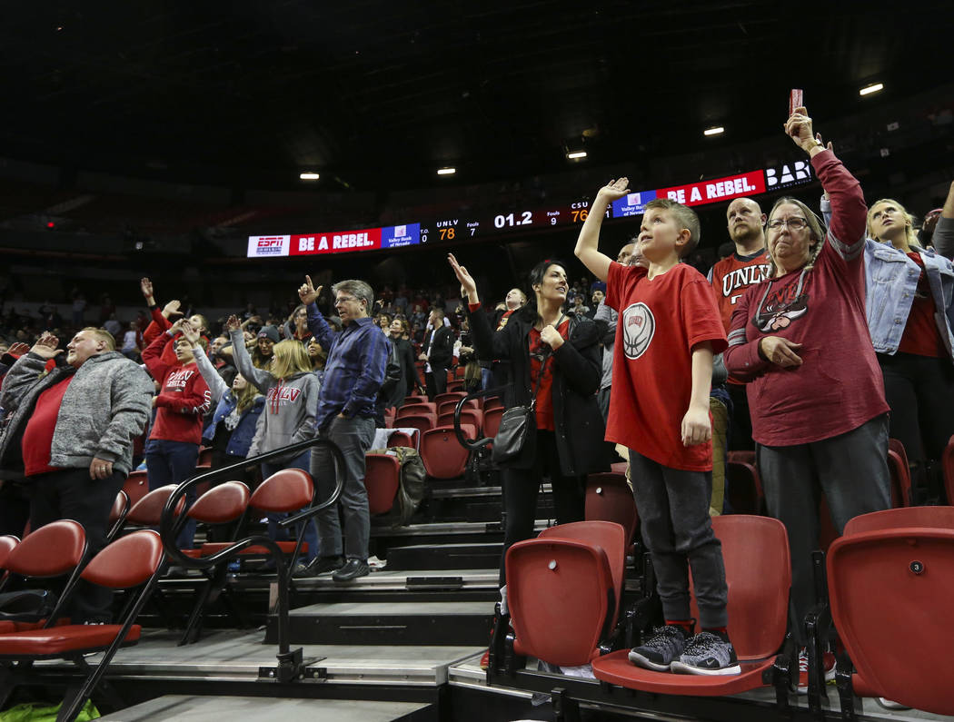 UNLV Rebels fans cheer during the second half of a basketball game against Colorado State at the Thomas & Mack Center in Las Vegas on Wednesday, Jan. 2, 2019. Chase Stevens Las Vegas Review-Jo ...